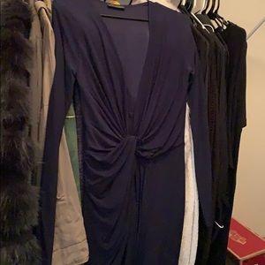 Dark blue tight dress that wraps